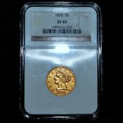 1870-p 5 Gold Liberty ✪ Ngc Xf-40 ✪ Half Eagle Extra Fine L@@k Now ◢trusted◣
