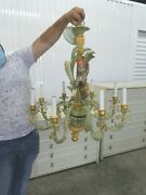 Vintage Italian Tole Wood And Composition Monkey Chandelier