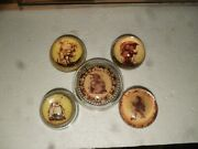 Lot 1 Of 5 Five Vintage Hummel Glass Paperweights