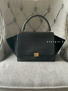 100 Auth Celine Croc Embossed Trapeze Discontinued Made In Italy