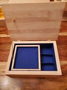 Unfinished Handmade Wooden Box W/hinged Lid Removable Divider And Sliding Shelf