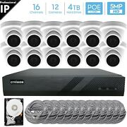 16 Channel 4k 8mp Poe Nvr 12x5mp Hd Ip Turret Camera Cctv Security System 4tb