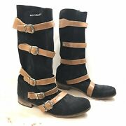 Kowalski Sz 9 Eu 39 Black Leather Suede Belted Buckles Tall Boots