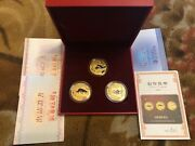 China 100 Yuan 2008 Dogs Set Of 3 Tokens Souvenir In A Box + Certificate