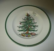Spode Christmas Tree Dinner Plates Green Trim 10.5 Nwt Set Of 6 As-is