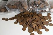 Lot Of 500 Lincoln Wheat Cents - Mixed Date Circulated Bulk