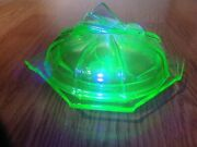 Green Uranium Depression Glass Footed Candy/nut Bowl With Lid Rare,maybe Bagley