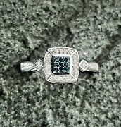 Danbury Mint Blue And White Genuine Diamonds .925 Sterling Silver Ring Size 8