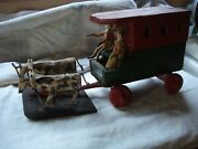 Antique Folk Art Hand Carved Wagon With Oxen And Riders