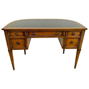 Mid Century Desk By Sligh Lowry Furniture Five Drawers Walnut Embossed Leather