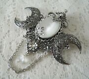 Triple Moon Brooch, Wiccan Pagan Wicca Witch Witchcraft Goddess Cloak Pin Gothic