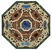42 Inches Marble Dining Table Top Multi Stones Inlaid Living Room Table For Home