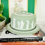 Antique Wedgwood Jasperware Dipped Sage Green Cheese Dome Cake Plate