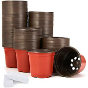 10x200 Packs Of 4-inch Plastic Plant Nursery Pots With 200 Plant Labels