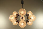 Mid Century Atomic Space Age Chandelier Glass Chrome Lamp Vintage 1960's - 70's