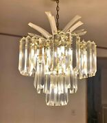 Large Vintage Hollywood Regency Three Tier Lucite Acrylic Prism Palm Chandelier