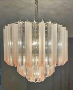 Large Hollywood Regency 3-tier Pink Tip Clear And Frosted Lucite Prism Chandelier