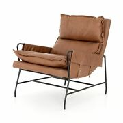 37 D Annibale Leather Lounge Club Chair Brown Black Metal Frame Low Seat Modern