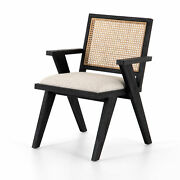 33 H Tonino Contemporary Victorian Dining Chair Occasional Black Oak Cane Back