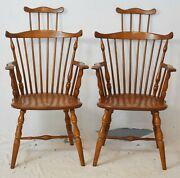 Pair Of Windsor Fan-back Arm Chairs With Comb Back Made By Whitney