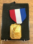 Rare Aau 1959 Junior Olympics Swimming Medal Red White Blue Pin W/box Bronze