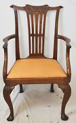 Antique Mahogany Irish Chippendale Period Carved Arm Chair Late 18th Century