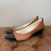 Anne Klein Brown And Black Leather Wedges 7