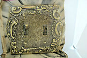 Vintage Mid Century Double Toggle Solid Brass Ornate Floral Switch Plate Cover