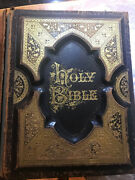 1881 Parallel Pictorial Antique Holy Bible Apocrypha Leather Bound Illustrated