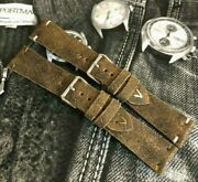 Distressed Italian Genuine Leather Watch Strap H/m 18 19 20 22 24mm Patina Olive