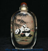 6.6 Old Chinese Glass Inner Painting Palace Dynasty Panda Bamboo Snuff Bottle
