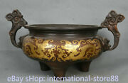 15.6 Marked Old Chinese Red Copper Gilt Double Dragon Handle Lion Ear Censer