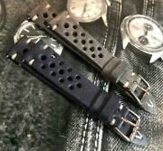 Vintage Genuine Leather Rally Racing Watch Strap H/m 18 19 20 22 24mm Blue Gray