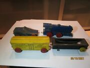 Vintage Strombecker Wood Freight Train Cars.
