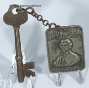 Vintage Hotel Jefferson St. Louis Mo. Skeleton Key And Fob Room 1014