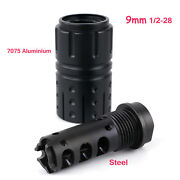 9mm Muzzle Brake 1/2x28rh Thread Compensator With 13/16x16 Outer Sleeve W/washer