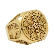 St Benedict Solid Gold Christian Catholic Medal Mens Ring Handcrafted Exorcism