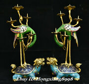16.9 Old Copper Cloisonne Crane Dragon Turtle Candle Holder Candlestick Pair
