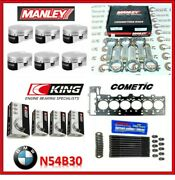 Manley 84.00mm 10.2 Cr Piston And Rod And Bearing And Gasket And Stud Kit For Bmw N54b30