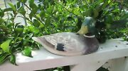 Beautifully Hand Carved And Painted Penn. Artist Mallard Drake Duck Decoy