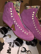 New Moxi Lolly Suede Pink Fuchsia Roller Skates Size 8 Discontinued Color