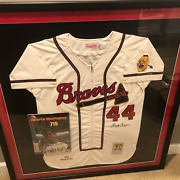 Hank Aaron Framed Dual Auto 1957 Milwaukee Braves Mitchell And Ness Jersey W/coa A