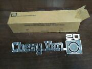 Nos Gm 77-82 Chevy Van Series 20 Front Fender Emblem 14017454 Name Plate