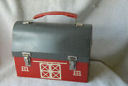 Vintage American Thermos Bottle Co Red Barn Metal Dome Lunch Box W Thermos