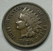 Premium Choice Condition 1870 Indian Head Cent Penny Key Date. 393
