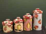 Droll Designs Hand Painted Signed Lidded Winter Fruit-canisters Set Of 4