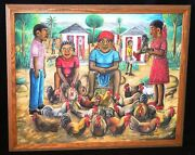 1970s Haitian Acrylic Painting Lady And Roosters By Wilson Bigaud 1931-2010huh