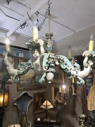 Antique Italian Carved And Painted Chandelier With Putti