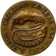 1912 New Mexico Great Seal Carlsbad Caverns Whiteand039s City Bronze Medal Token