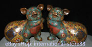 9.6 Old Chinese Cloisonne Enamel Bronze Feng Shui Animal Pig Lucky Statue Pair